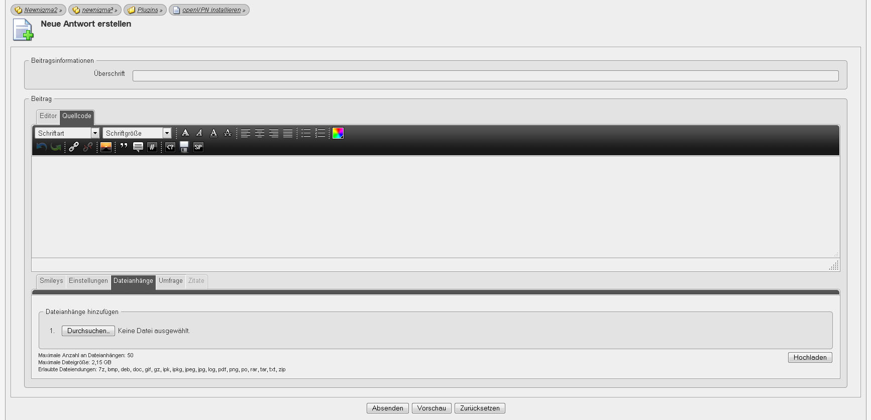 openVPN installieren - Plugins - Newnigma²
